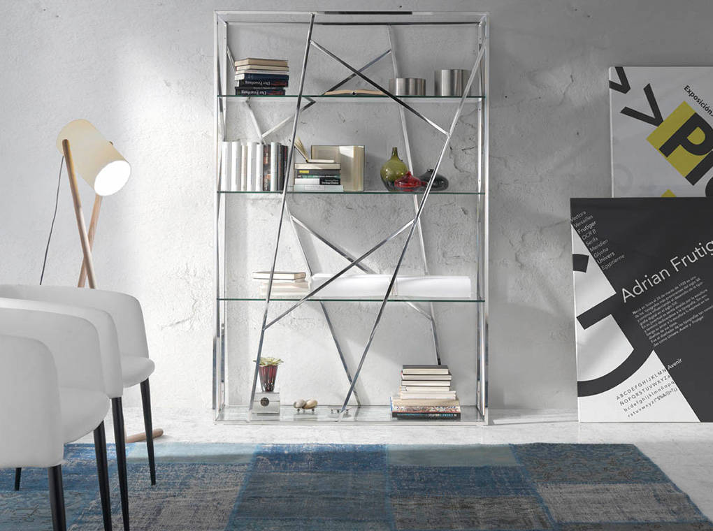 Bookshelves in stainless steel frame with tempered glass shelves.