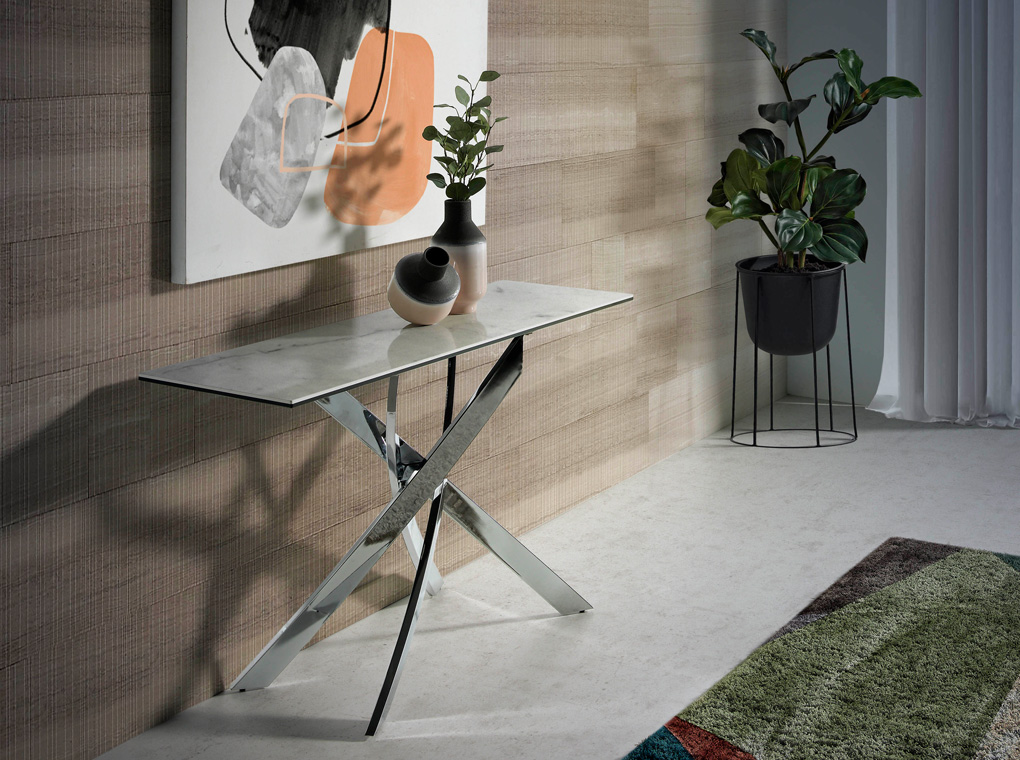 Console with porcelain and chrome steel top
