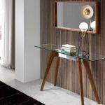 Console table with tempered glass tabletop, stainless steel base and walnut legs