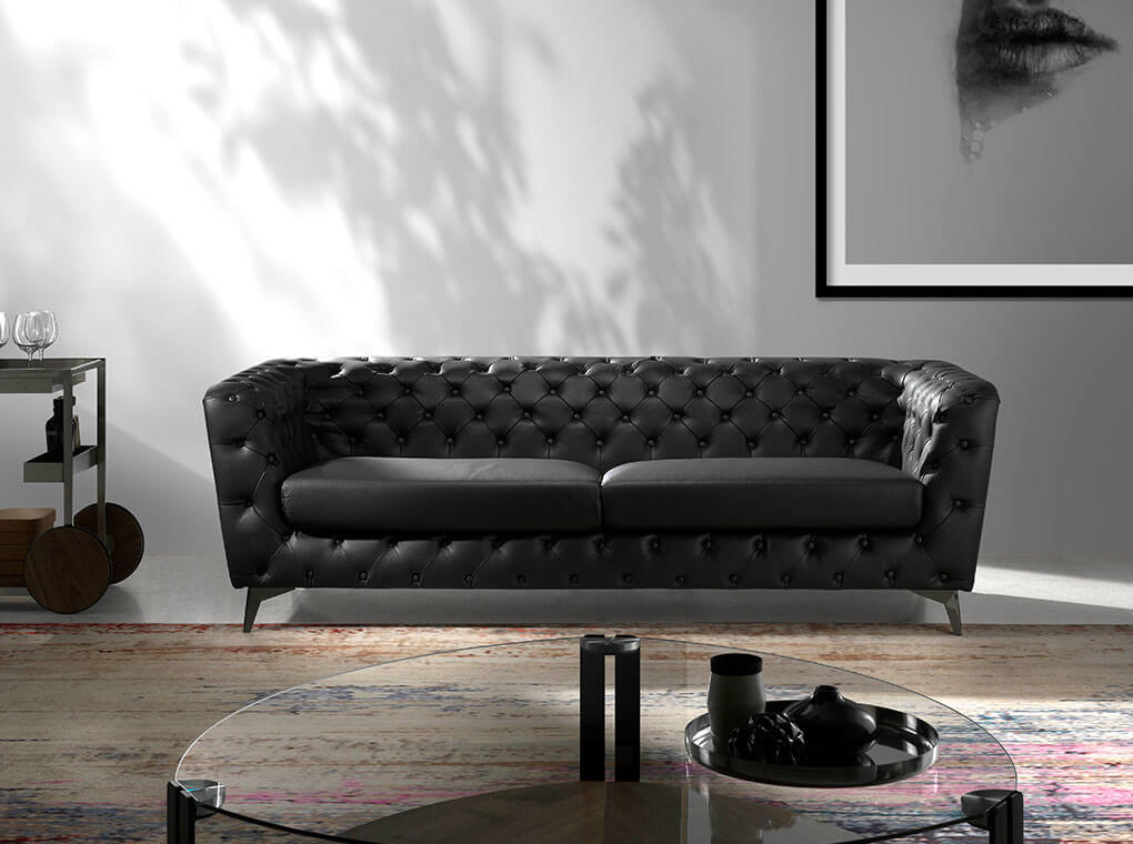 3 Seat Sofa upholstered in leather with steel legs in grey epoxi
