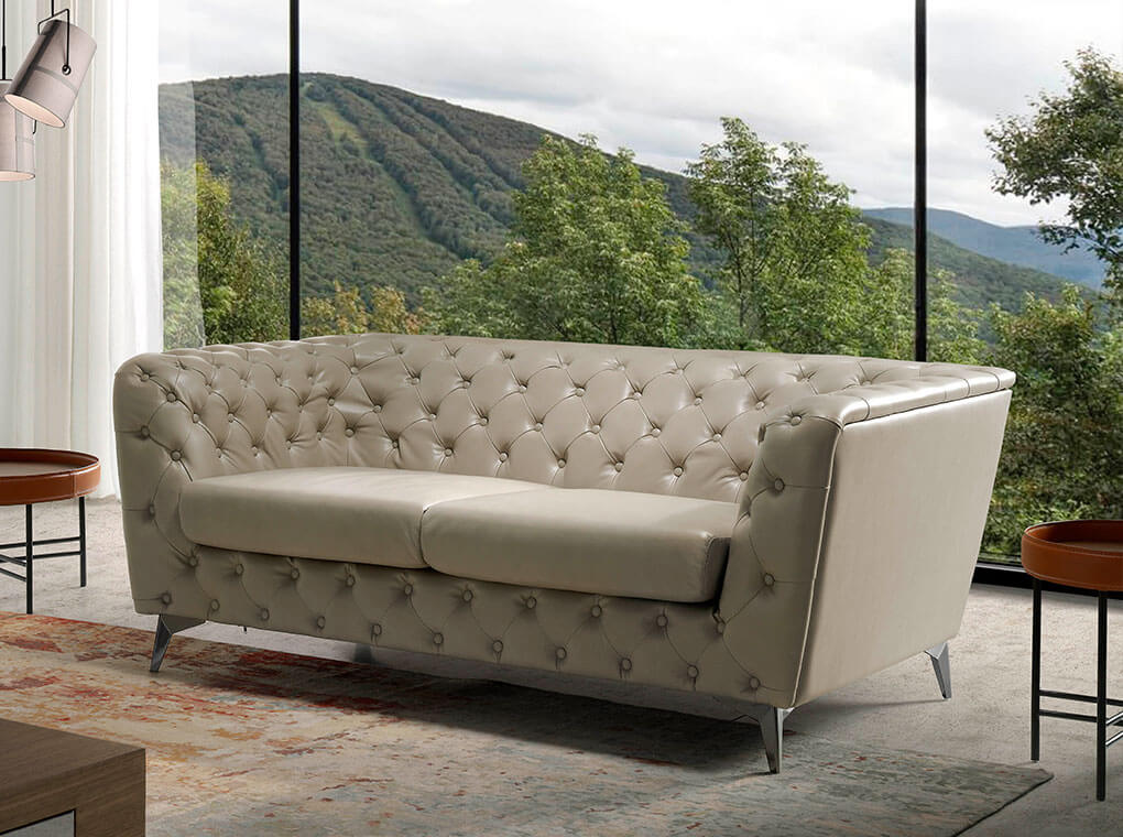 3-Seater sofa upholstered in leather with steel legs in grey epoxi