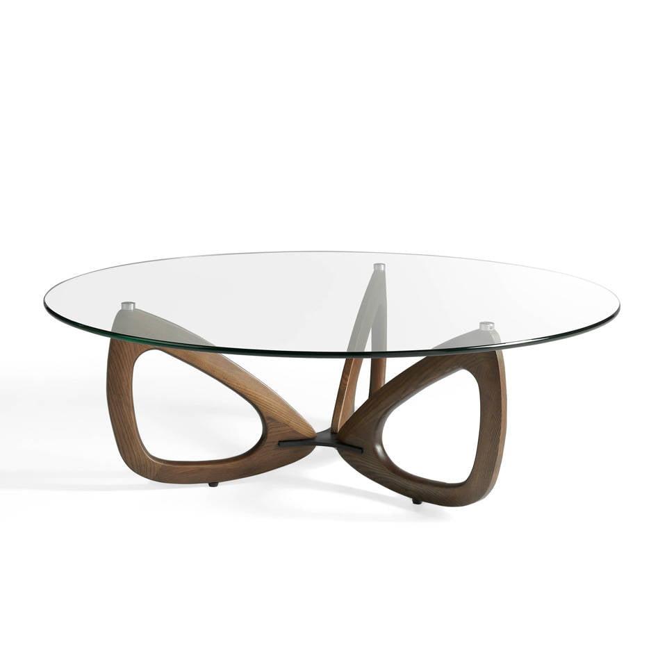Mesa de centro de madera maciza con tapa de cristal templado