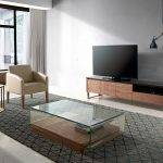 Walnut-veneered wooden TV furniture with a Black tempered glass cover