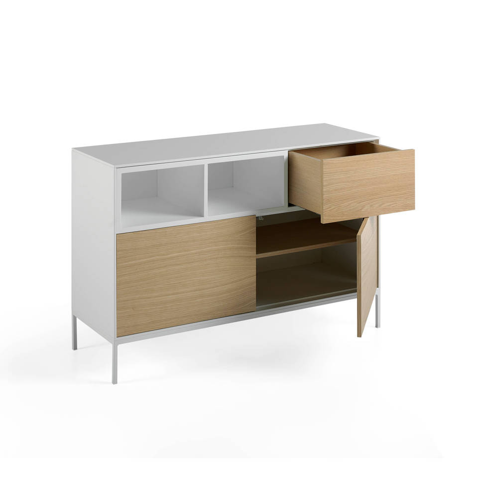 metall sideboard mit t ren aus mdf und eichenfurnier f chern angel cerd s l. Black Bedroom Furniture Sets. Home Design Ideas
