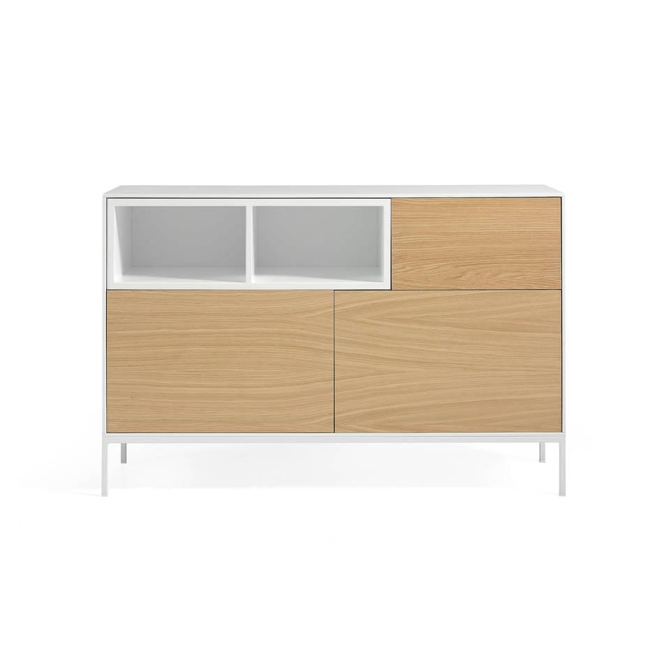 metall sideboard mit t ren aus mdf und eichenfurnier f chern angel cerd s l. Black Bedroom Furniture Sets. Home Design Ideas