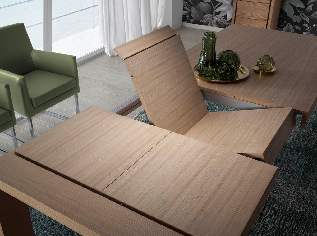 Mesa extensible de madera maciza chapada en roble con dos extensibles plegables