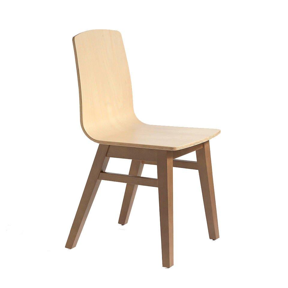 Silla de madera maciza con asiento contrachapado curvado
