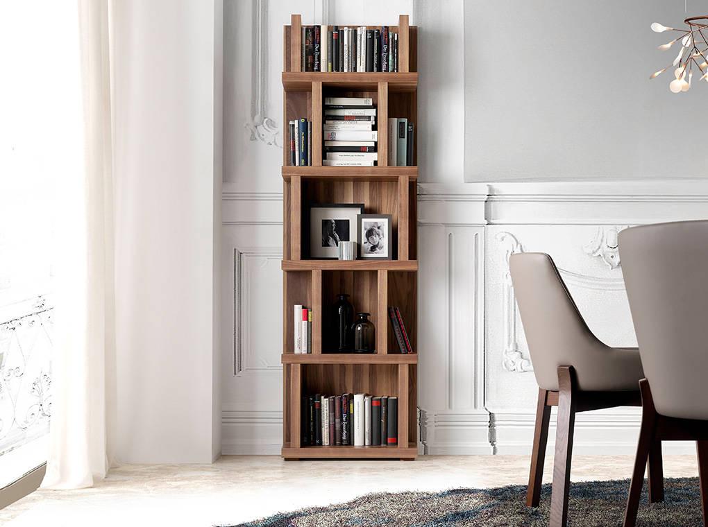 Wooden bookshelf with Walnut veneer