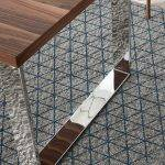 Board table with Walnut veneered MD and chrome-plated steel legs.
