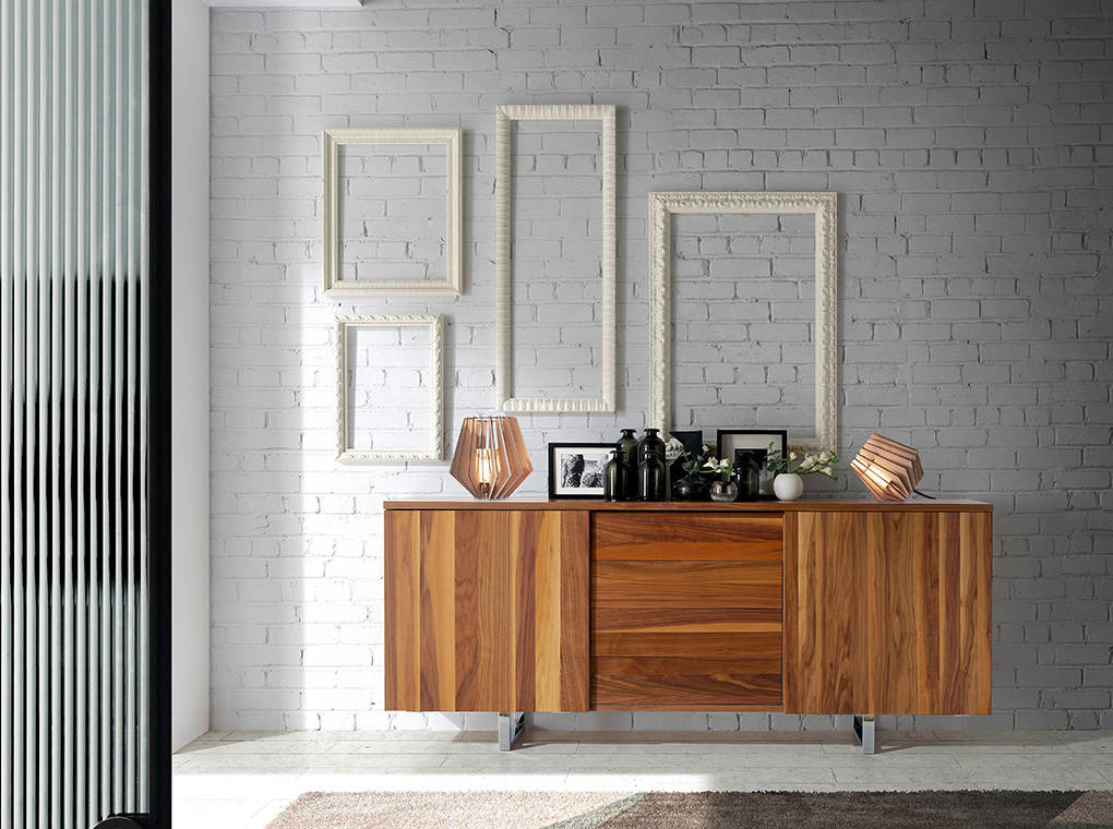 Walnut wood and chrome steel sideboard
