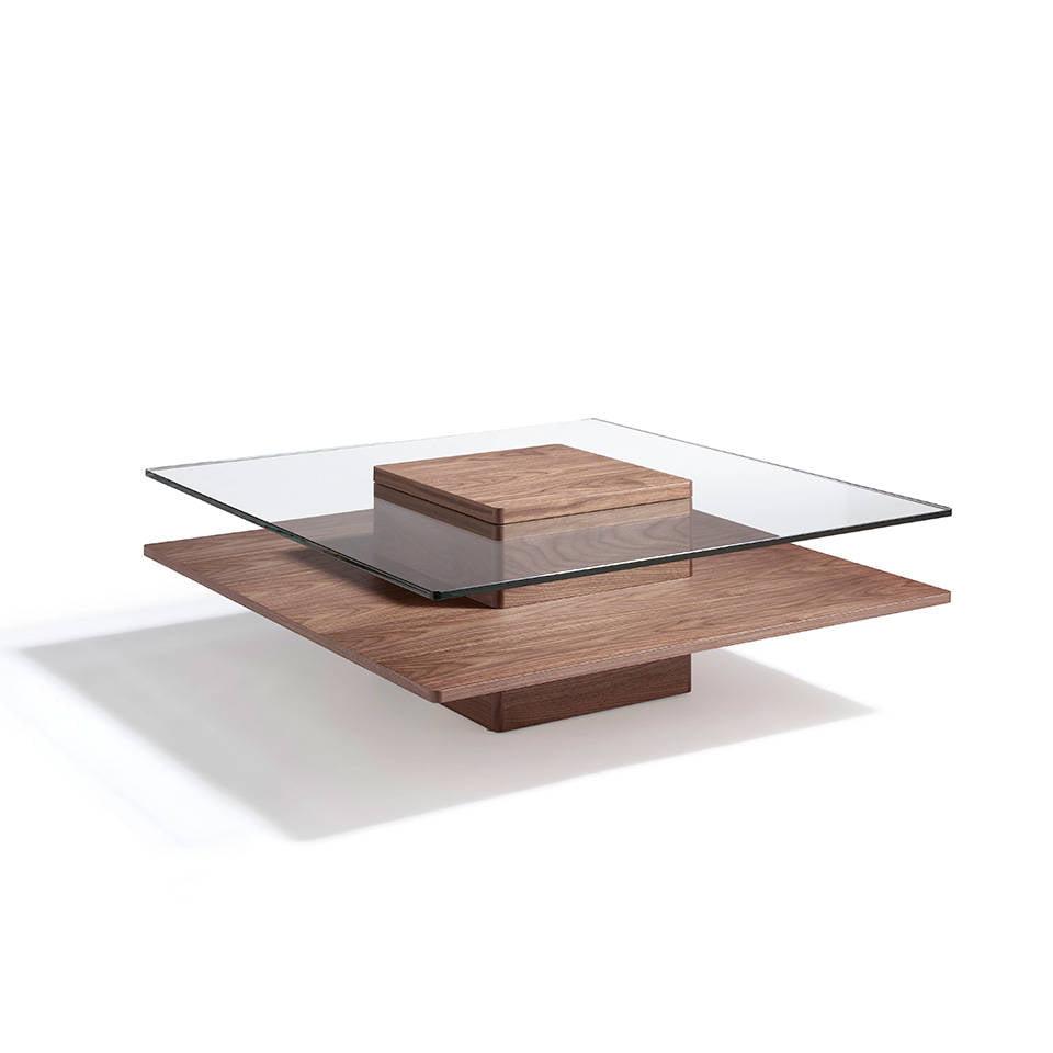 Mesa de centro de madera chapada en nogal con tapa de for Mesas de centro metalicas