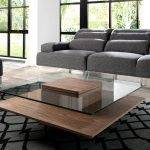 Square coffee table in tempered glass and Walnut wood