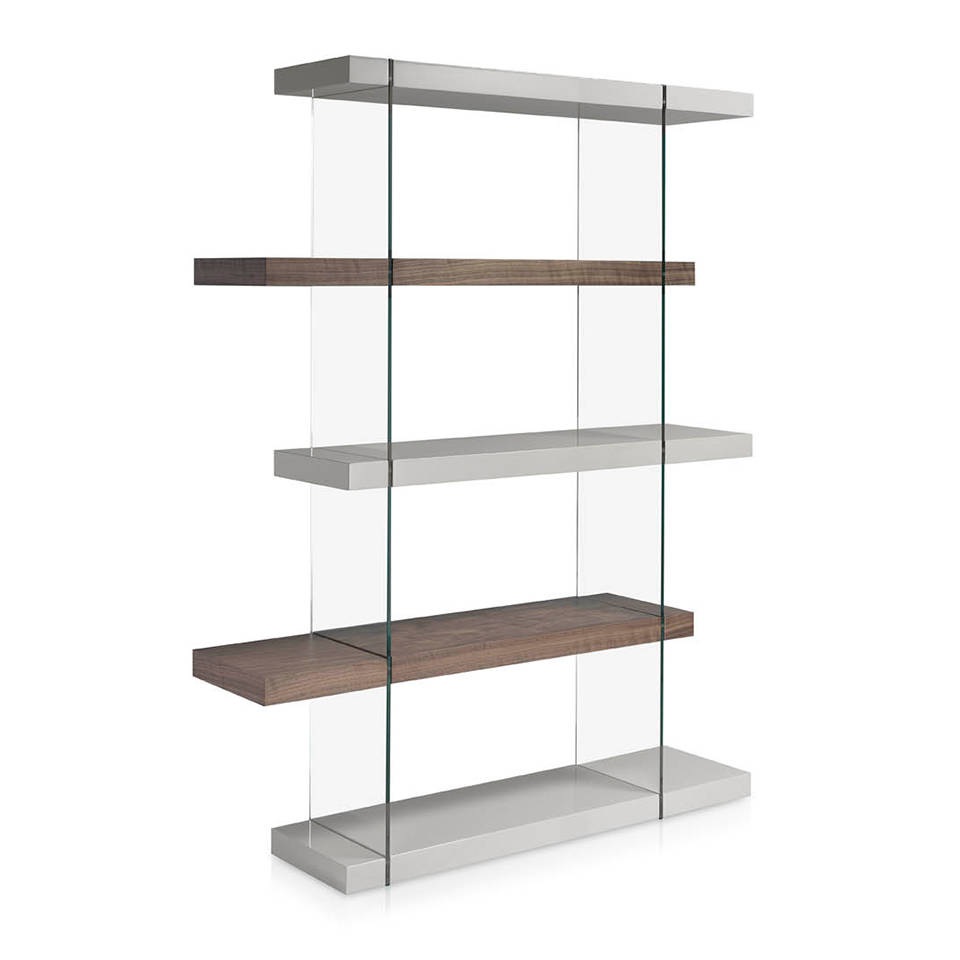 Glass bookshelves with lacquered MD shelves and Walnut-veneered wood