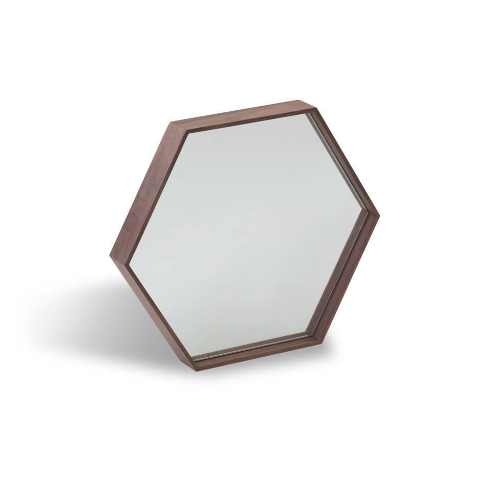 Walnut wood frame hexagonal mirror