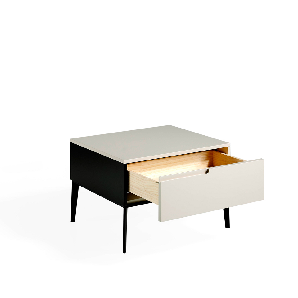 Lacquered bedside table with black steel legs