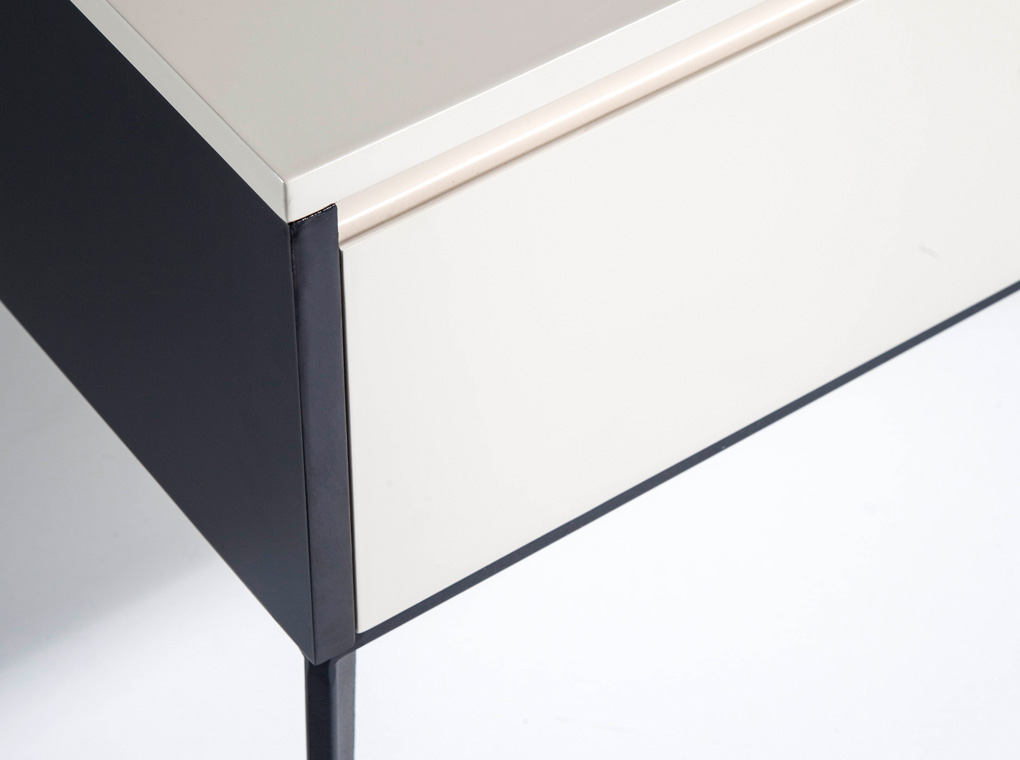 Cream wooden bedside table and black steel