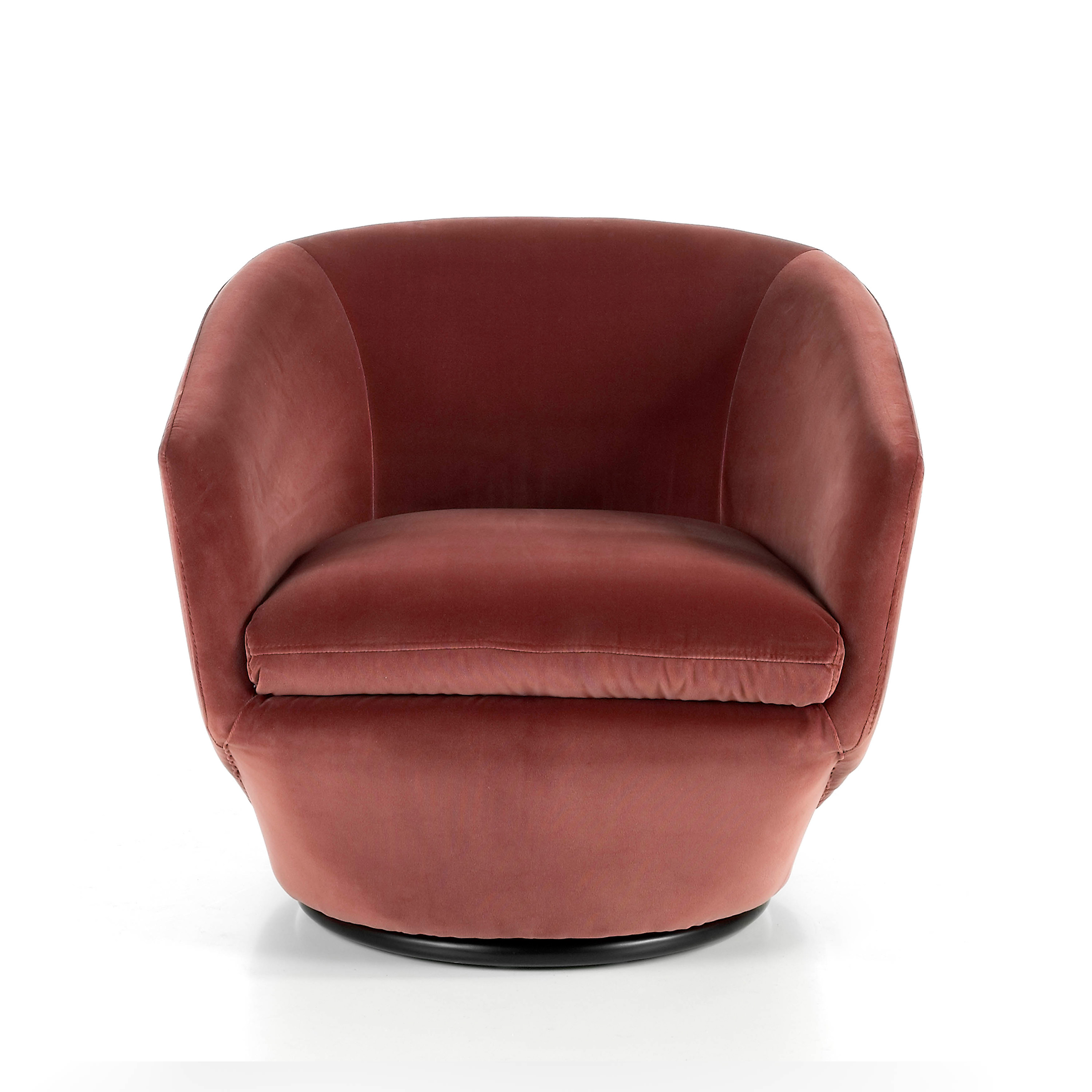 Swivel upholstered armchair in velvet effect fabric