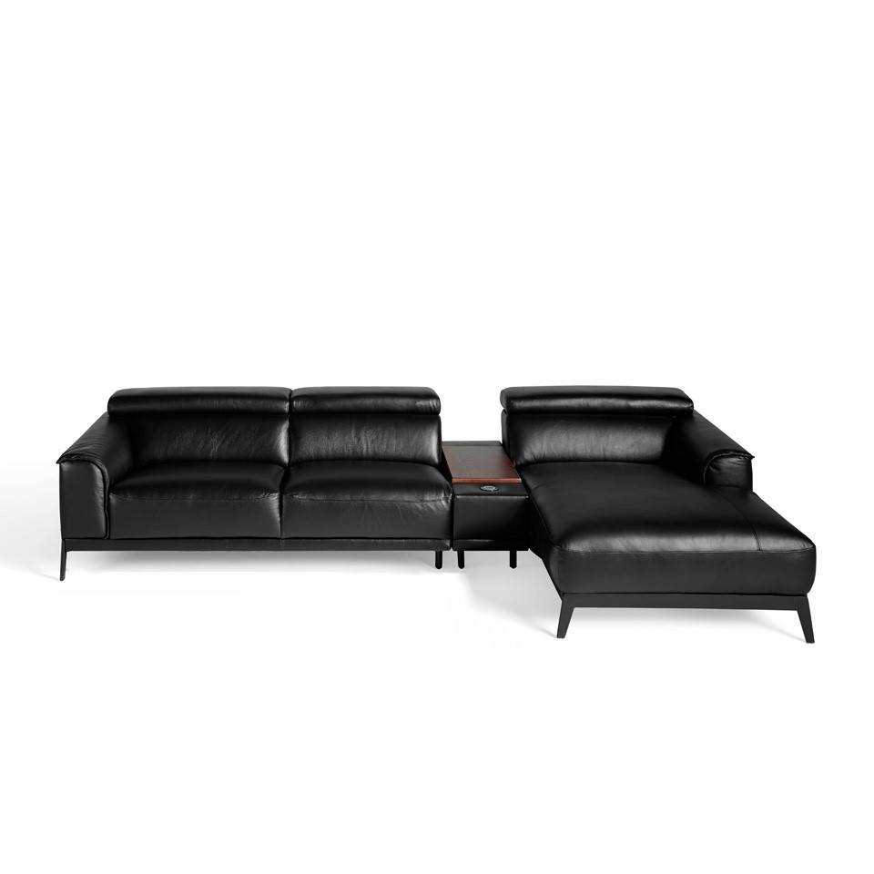 Chaise lounge sofa upholstered in leather with stainless steel legs