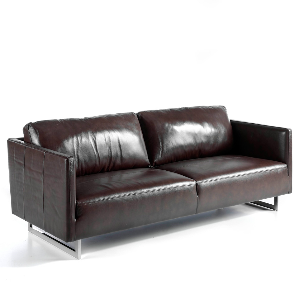 3-seater sofa upholstered in leather with chromed steel legs