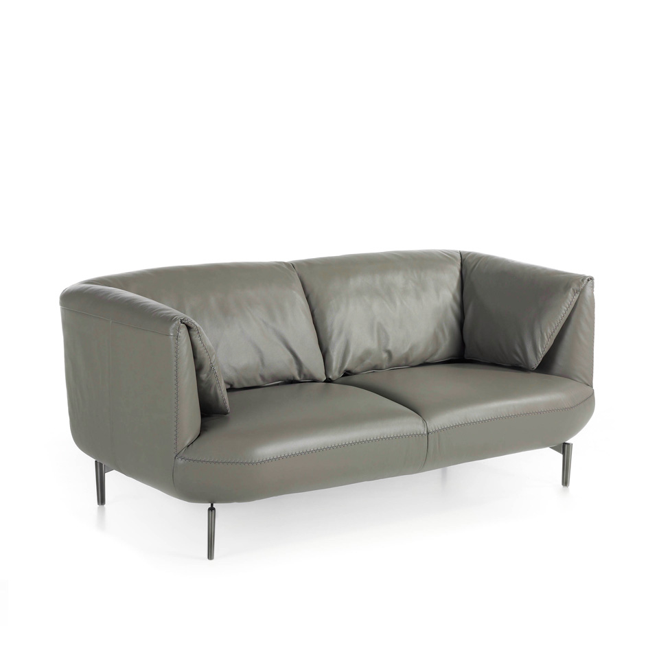 2-seater sofa upholstered in leather with polished steel legs