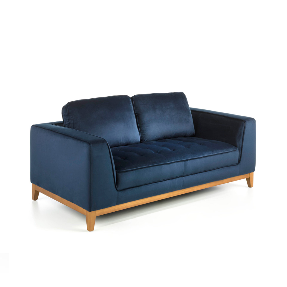 2-seater sofa upholstered in velvet with Walnut wood legs