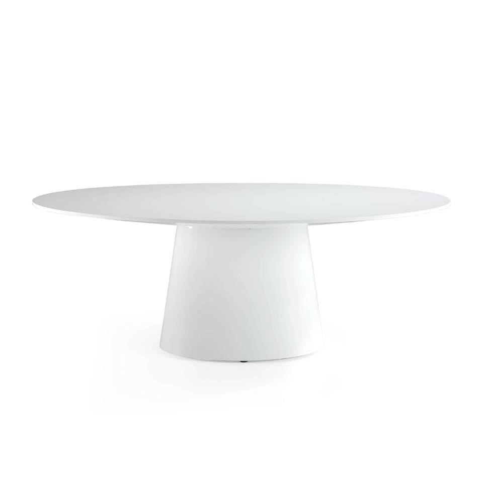 Lacquered MDF oval dining table