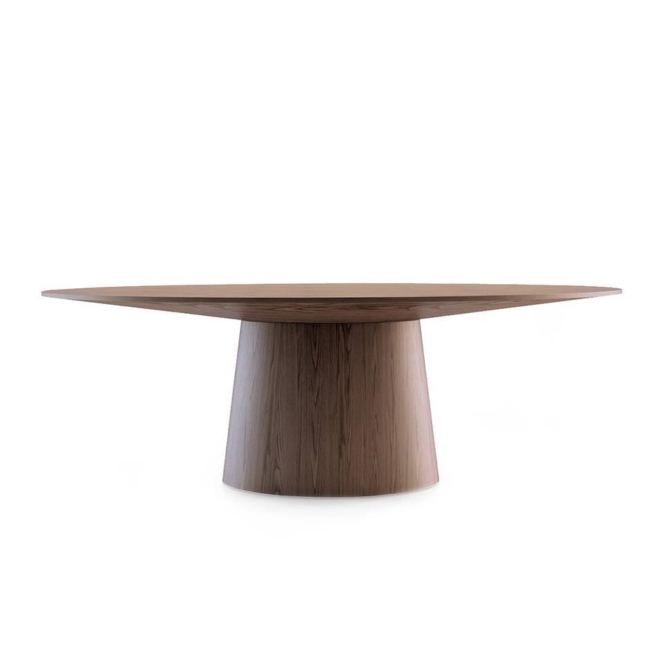Table à manger ovale noyer plaqué.