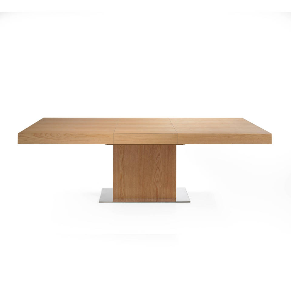 Oak wood-plated rectangular dining table and extendable central mechanism