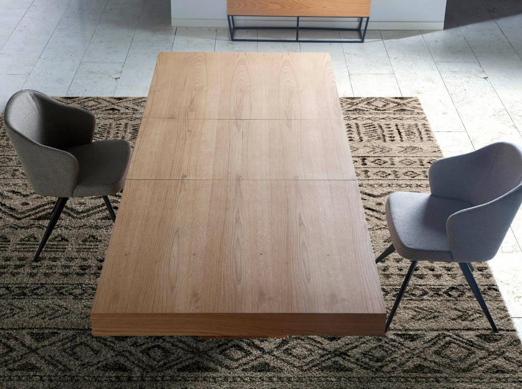 Mesa de comedor rectangular de madera chapada en roble y mecanismo central extensible