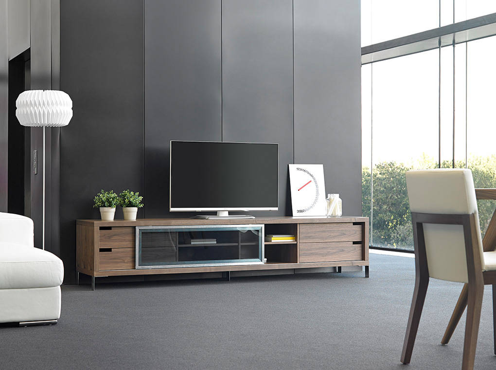TV stand in walnut veneered wood