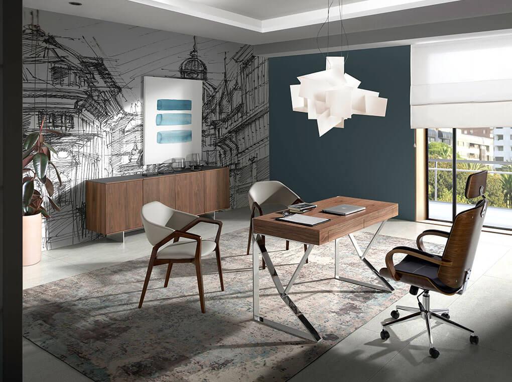 Walnut wood and chrome steel office desk