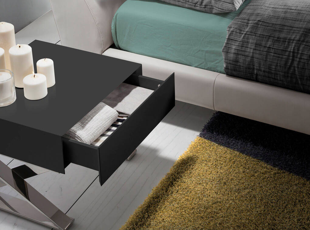Bedside table lacquered with drawer and stainless steel legs