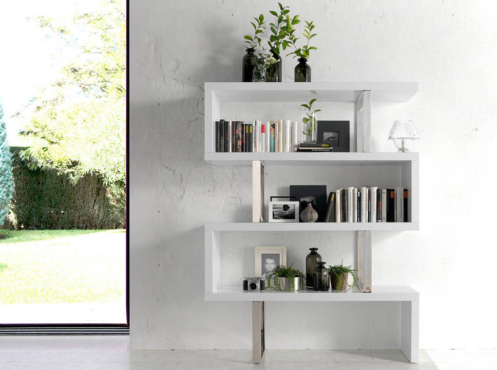 White wooden shelf and chrome steel