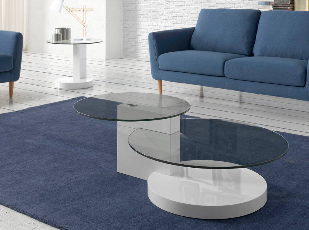 White wood and tempered glass coffee table
