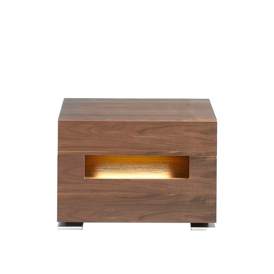 Walnut wood bedside table with interior led lighting