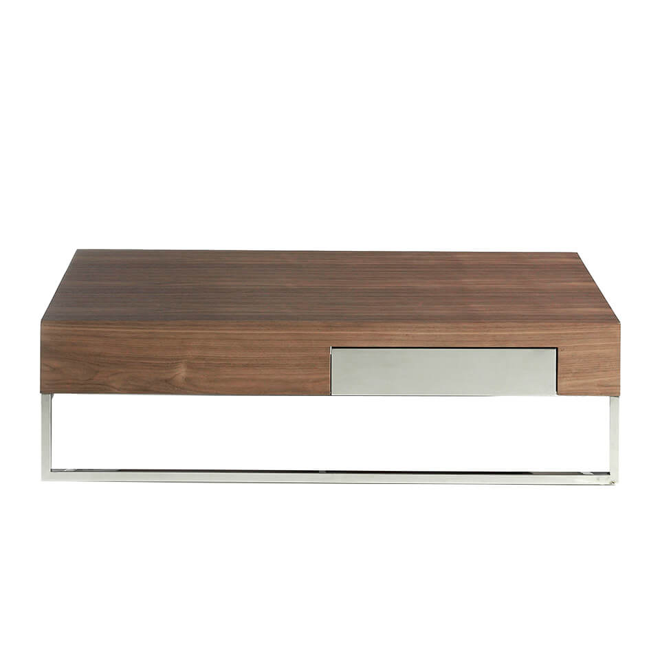 Walnut wood and chrome steel coffee table with drawer