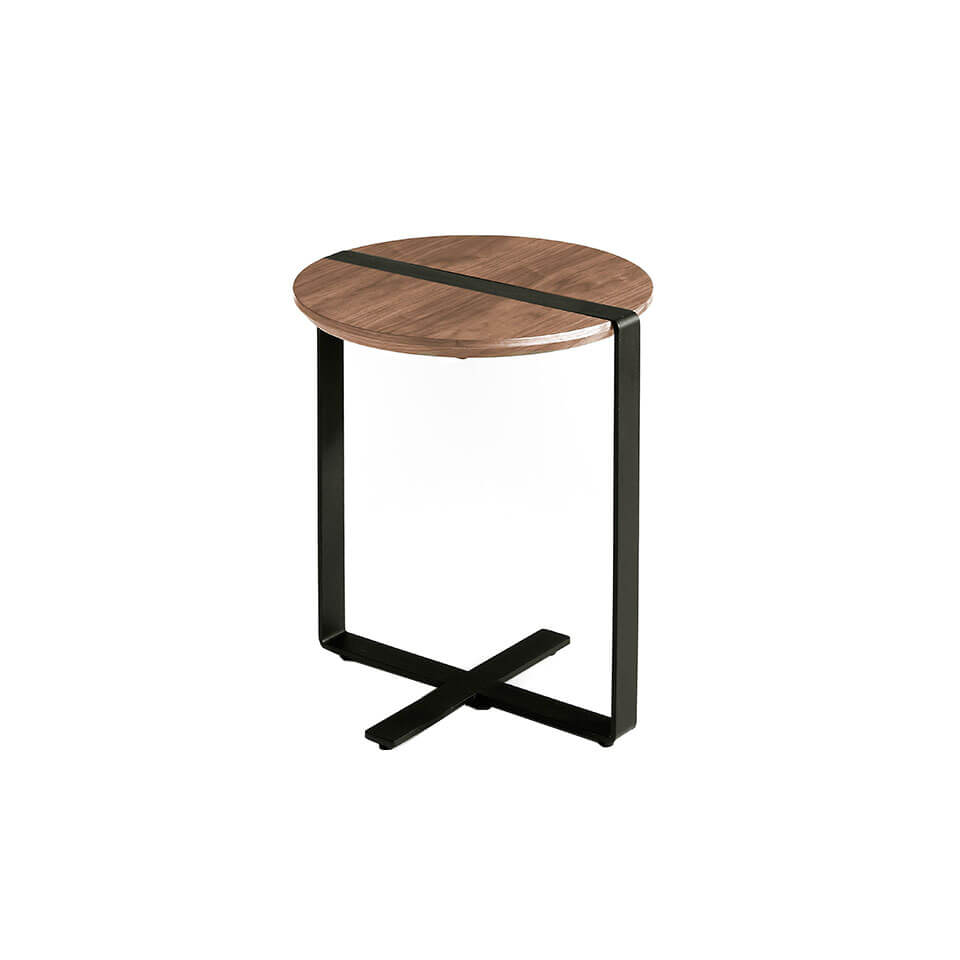 Walnut wood and black steel corner table