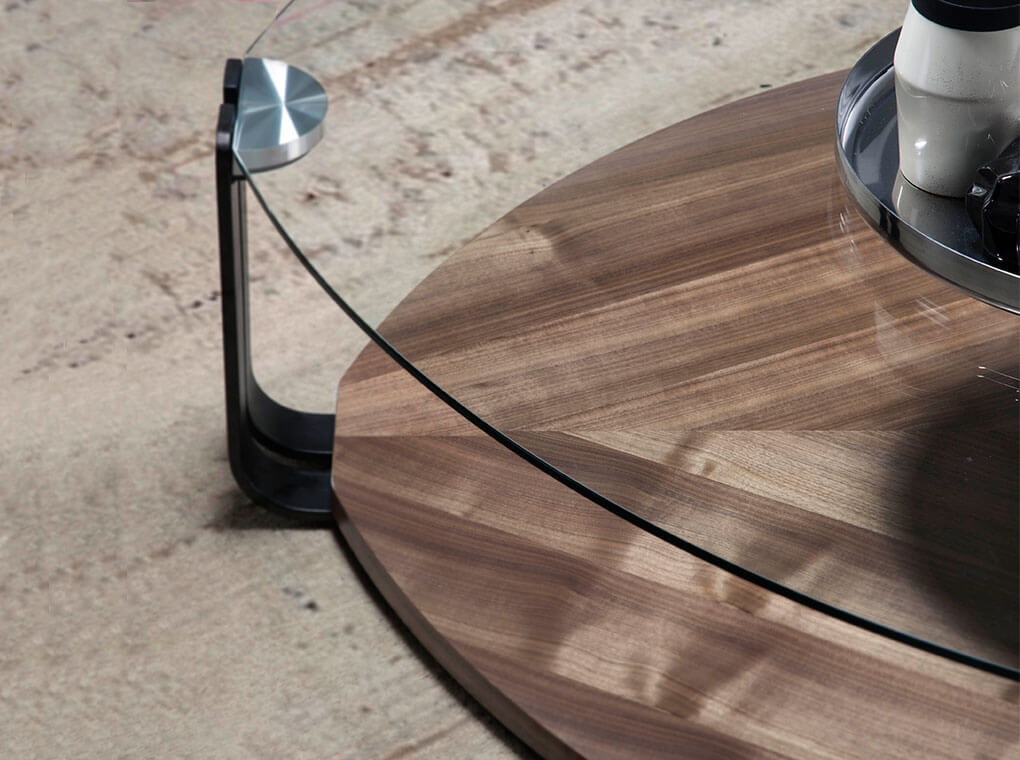 Walnut wood and tempered glass coffee table
