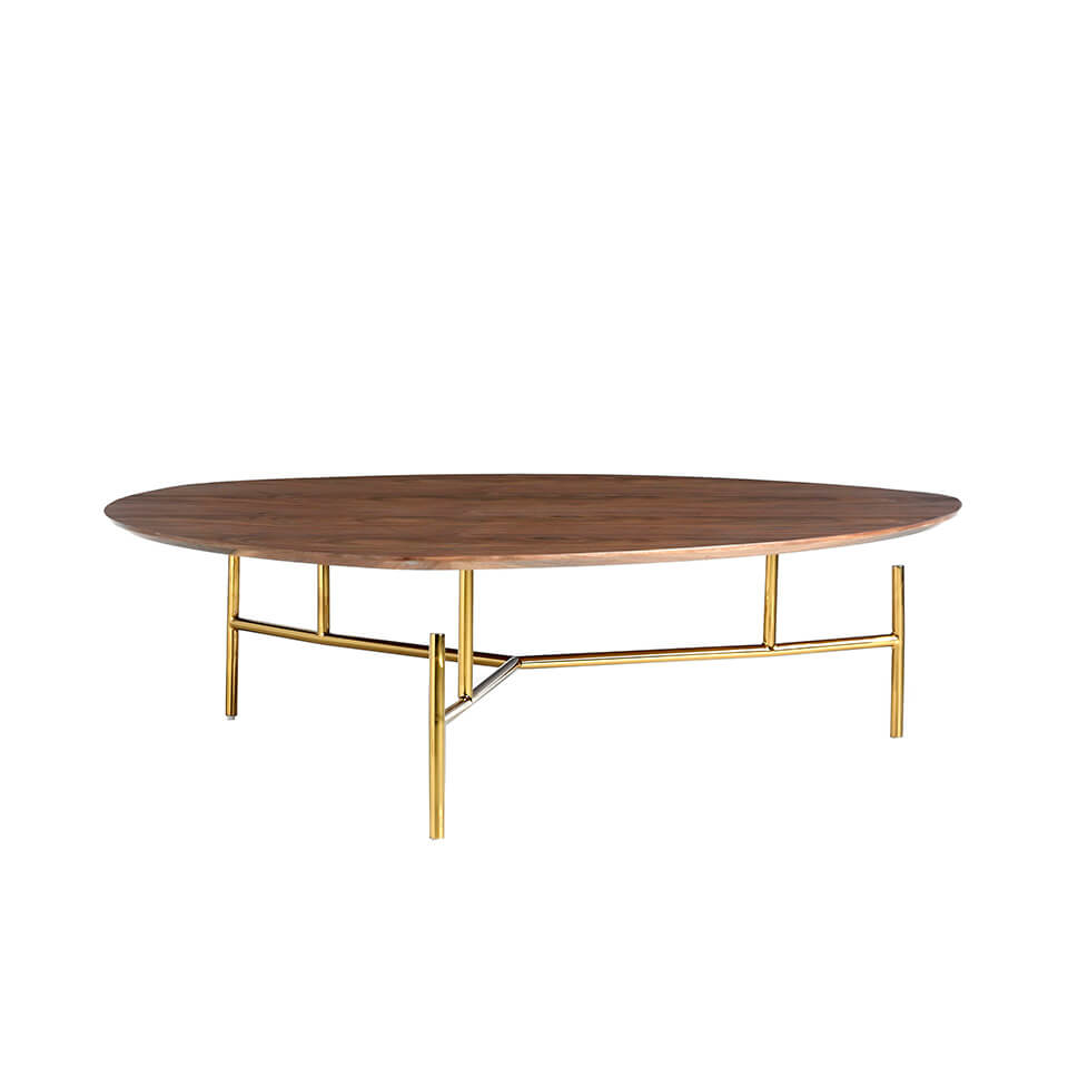 Coffee table in walnut veneer and legs golden chrome steel