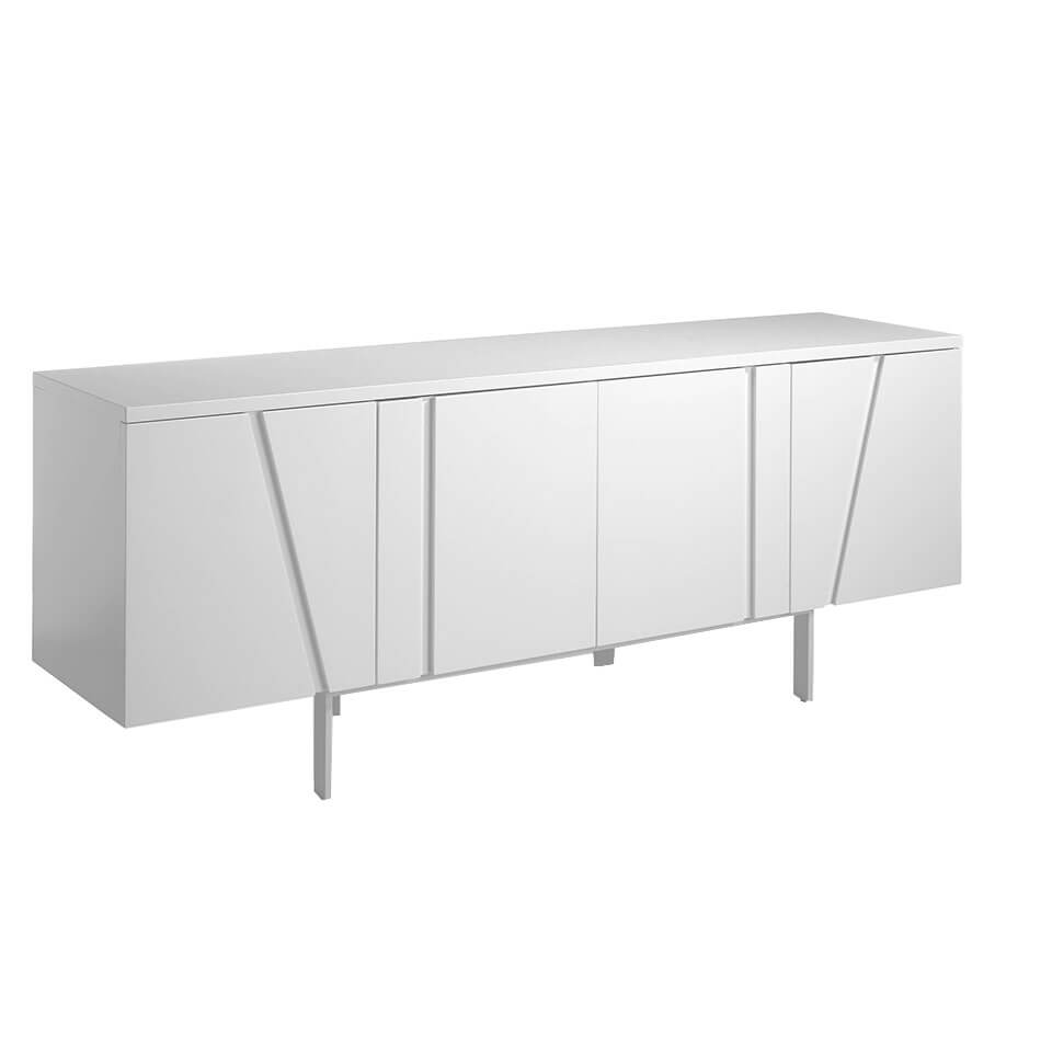 White wood and steel sideboard
