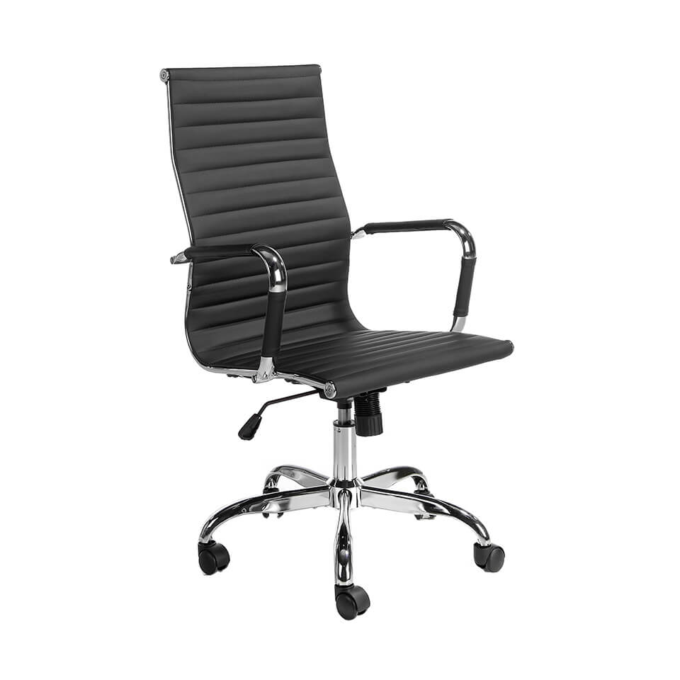 Swivel office chair upholstered in black leatherette with chromed steel frame