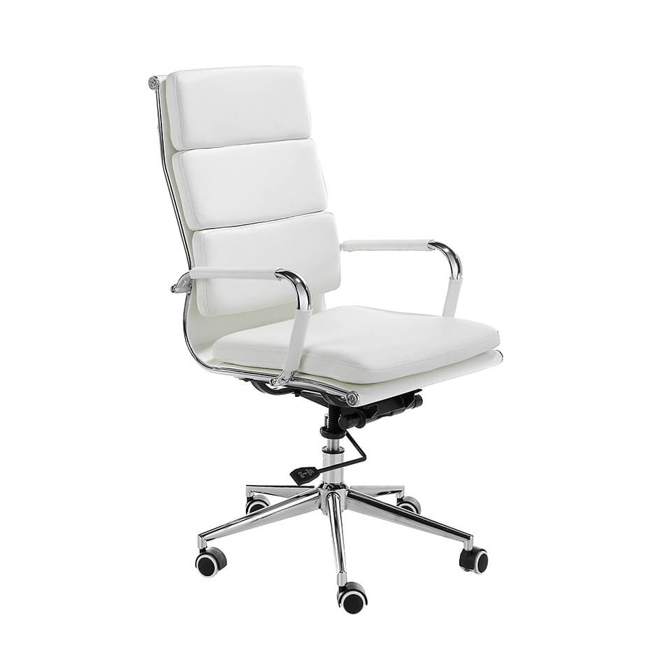 Swivel office chair upholstered in white leatherette with chromed steel frame