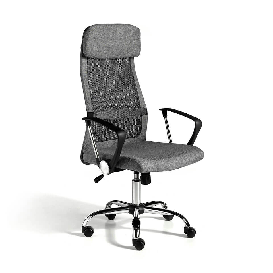 Gray swivel office chair with chromed steel frame