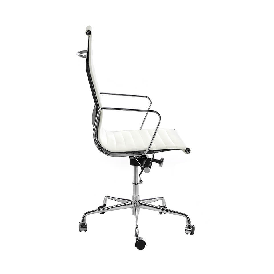 Office armchair upholstered in white leatherette