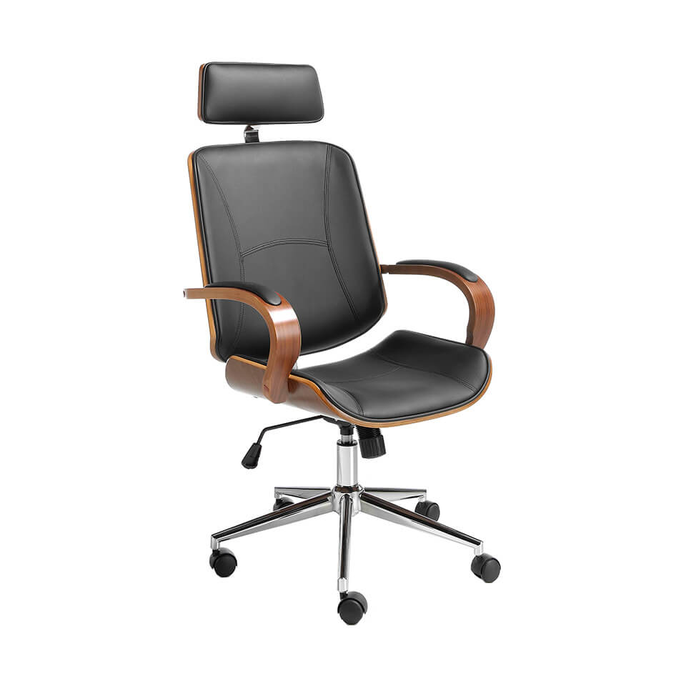 Swivel office chair upholstered in white leatherette with Walnut colored wooden structure
