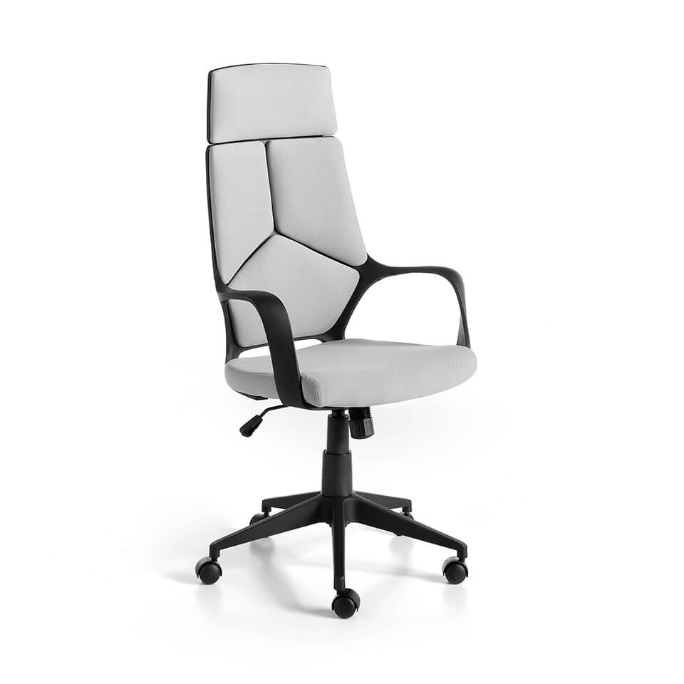 Office armchair upholstered in grey fabric with 360º rotating arms