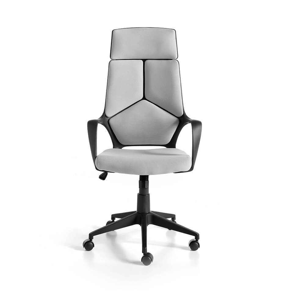 Office chair upholstered in gray fabric with armrests