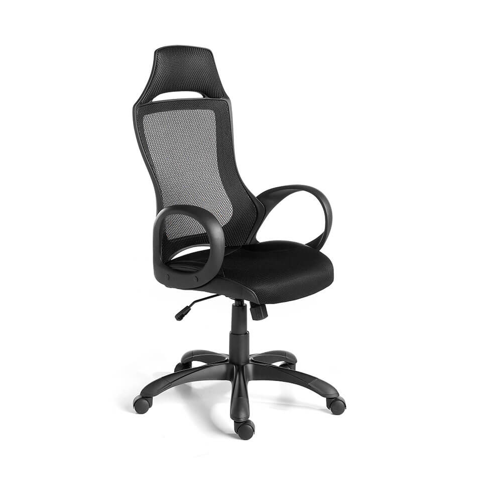Black swivel office chair with armrests