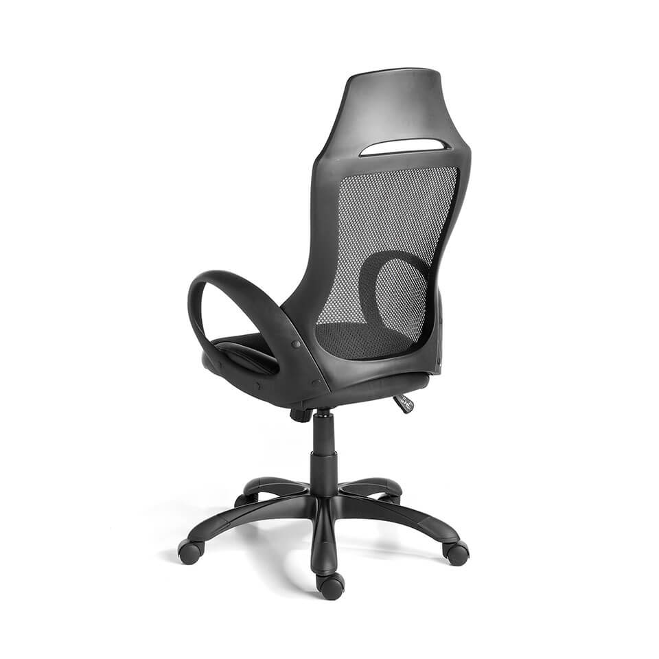 Office armchair upholstered in black fabric