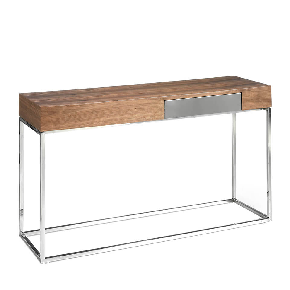 Console in walnut veneer with chrome steel legs